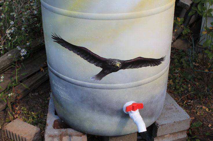 """-FOR SALE- Rain barrel #004 """"Switching To Glide"""" Photo #2 of 2. Complete with 5' of overflow tubing, colored cleanable aquarium gravel filter system & all hardware parts are replaceable. One of a kind, hand painted with Krylon Fusion paint for plastic."""