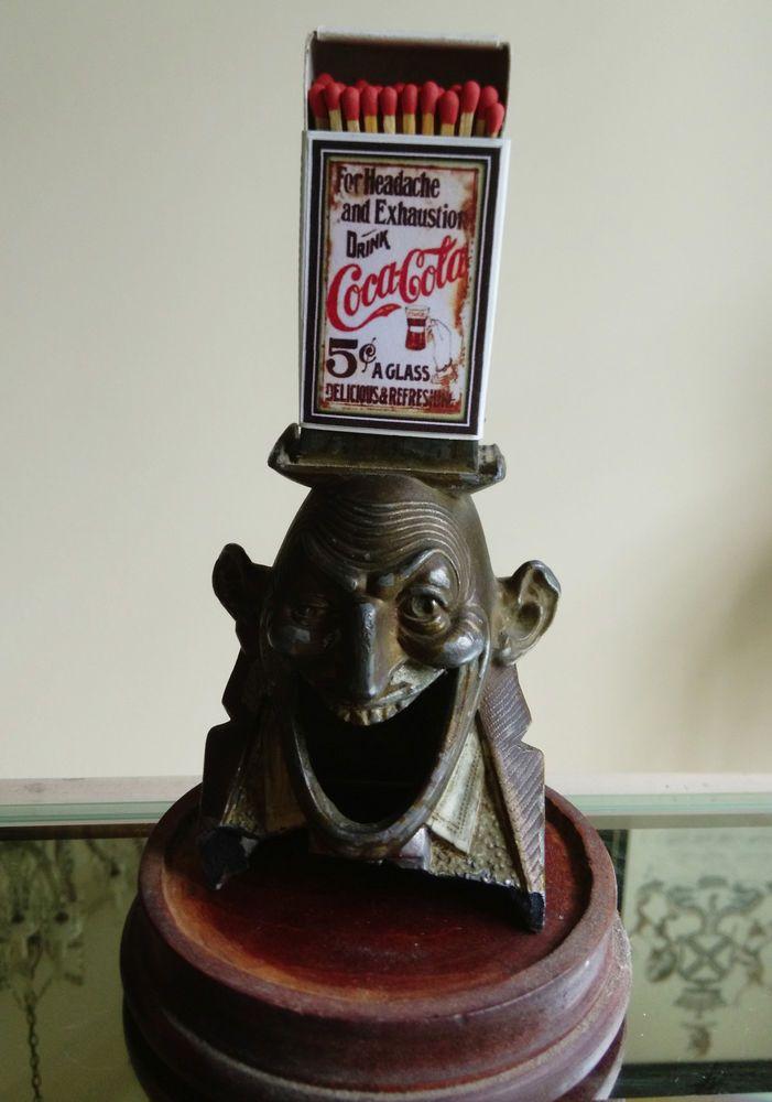 Antique Pot metal Match Holder Devil jester joker head Evil