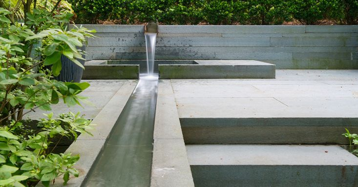 Stephen Stimson Associates, Garden Water Feature Roundup | This residential garden by Stephen Stimson Associates occupies a steep wooded hillside with a number of pools, fountains, and aqueducts running through it. See another view of the residence in Architects' Roundup: 10 Emerald Green Gardens. Photograph by Rob Cardillo.