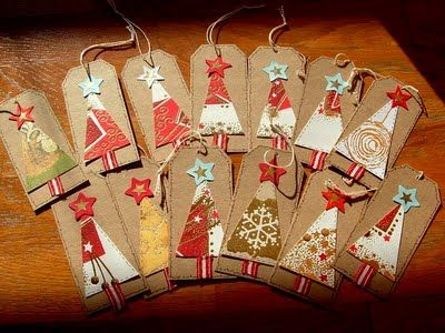 Christmas trees- cute!  Could put a button on the top too!  I NEED a craft room!