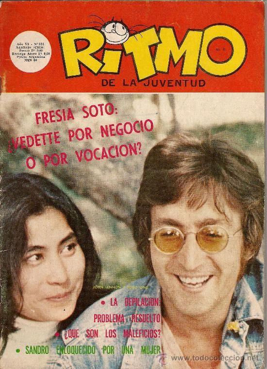 JOHN LENNON Y YOKO ONO portada de revista chilena RITMO de la juventud 1972 (Música - Revistas,