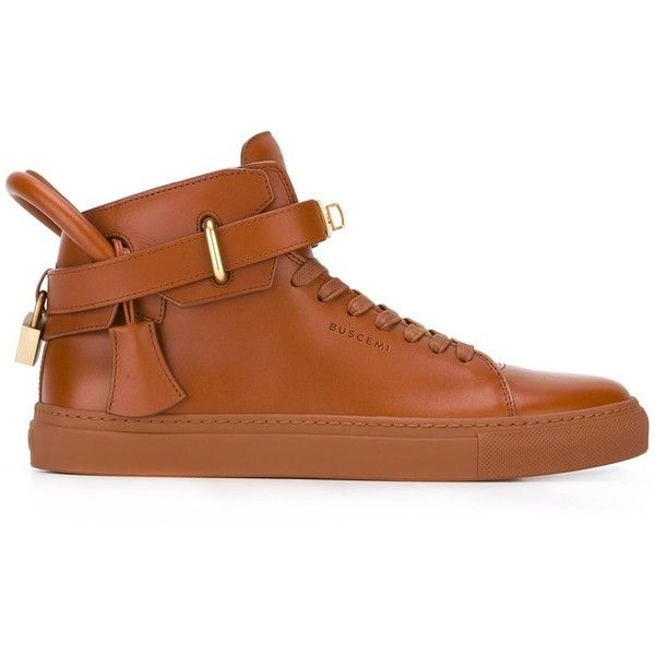 Buscemi buckled hi-top sneakers (496.145 CLP) ❤ liked on Polyvore featuring men's fashion, men's shoes, men's sneakers, brown, mens high top sneakers, mens brown leather shoes, mens black leather high top sneakers, mens brown shoes and mens leather sneakers