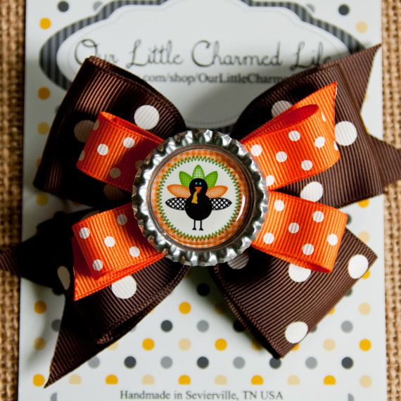 Ready To Ship, Thanksgiving Hair Bow, Thanksgiving Hairbow, Fall Hairbow, Fall Hair Bow, Turkey Hair Bow, Thanksgiving Hair Clip on Etsy, $4.75