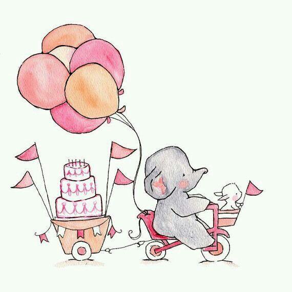 Gran cumpleaños.  Sueños por venir. Que la magia e inocencia no termine. Elefante