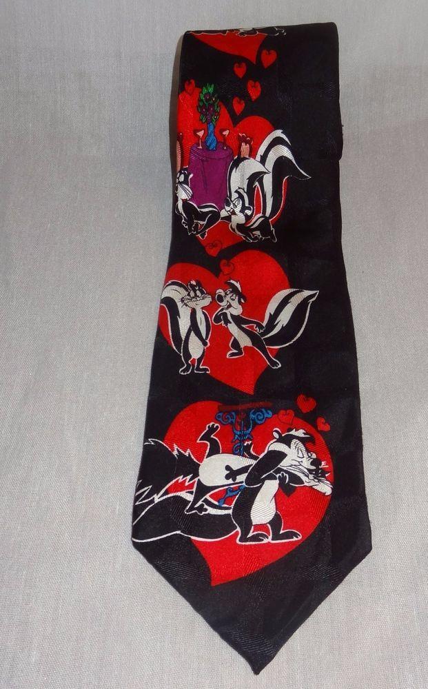 PePe Le Pew Necktie Skunk Hearts Love Red Black Valentine's Day Looney Toons Tie   Clothing, Shoes & Accessories, Men's Accessories, Ties   eBay!