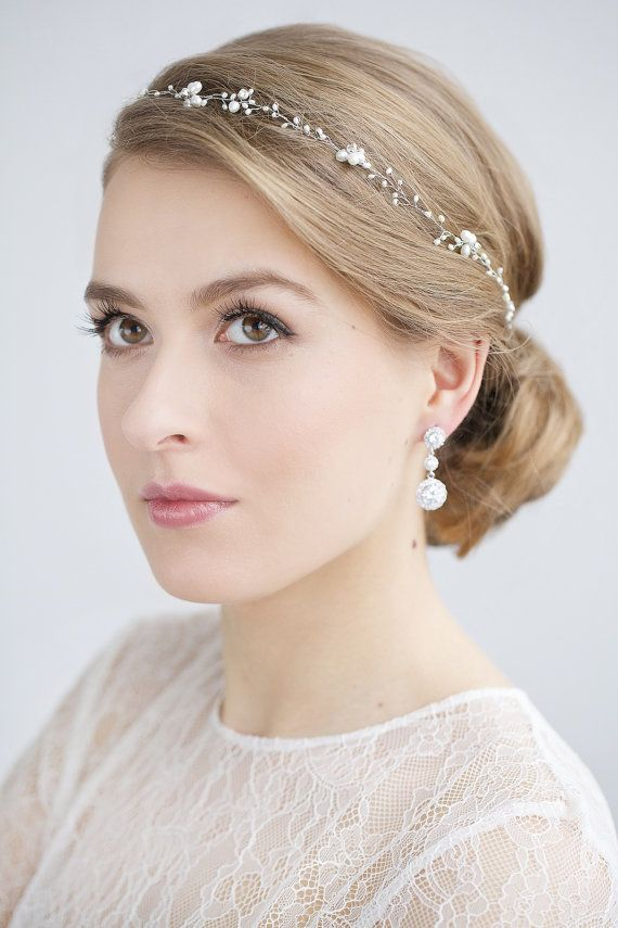 Wedding Headband, Pearl Headband , Hair Accessories , Bridal Headpiece, Wedding Pearl Hair Vine , Wedding Hairpiece