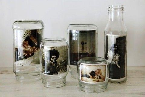 Upcycled glass jar photo display - Portaretratos de frascos reciclados