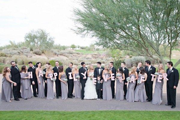 Grey Bridesmaid Dresses, Black Tuxedos