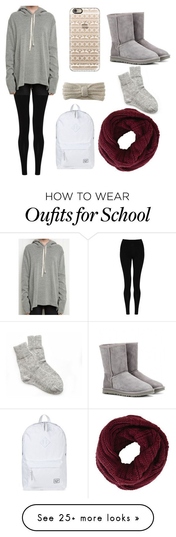 """school winter"" by emorygaddis on Polyvore featuring M&S Collection, Herschel Supply Co., Aéropostale, BCBGMAXAZRIA, Casetify and UGG Australia"
