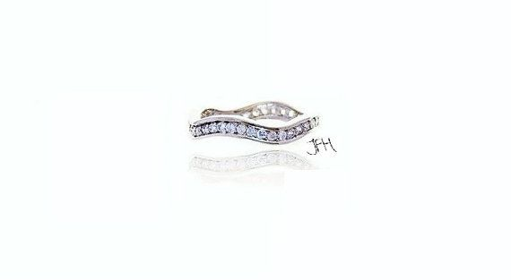18K White Gold Eternity Ring, Eternity Band, White Gold Plated Ring, Wavy Design, Princess Eternity Ring, Commitment Ring, Promise Ring on Etsy, $25.00   I WANT THIS