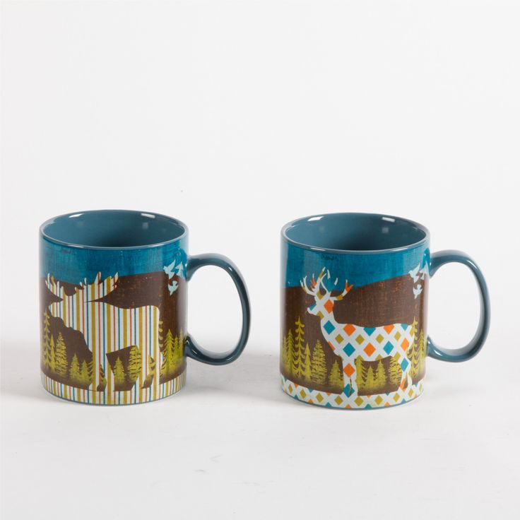 Woodhill Apartments: Gibson Home Woodhill 2 Pack 16oz Mugs, Moose/Deer