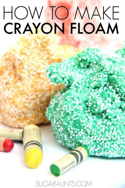 Use crayones rotos para hacer pasta casera Floam Crayon en menos de 15 minutos.  Así de fácil y un divertido juego Floam sensorial.