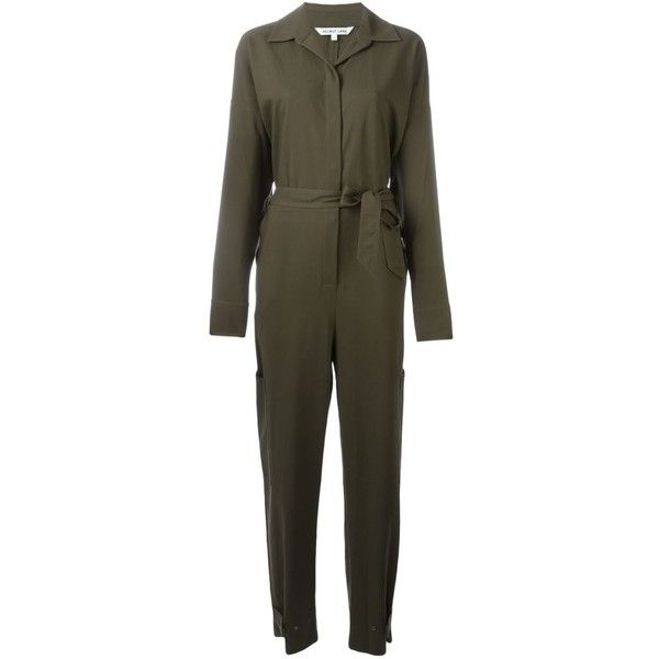Helmut Lang Wrapped Belt Jumpsuit (1,100 CAD) ❤ liked on Polyvore featuring jumpsuits, green, wrap jumpsuit, green jumpsuit, helmut lang, camo jumpsuit and camouflage jumpsuit