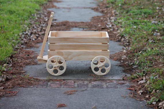 Wooden Wagon Home Decor Unfinished Wheels That Roll Some Etsy Wooden Wagon Wagon Wheel Decor Wood Wagon