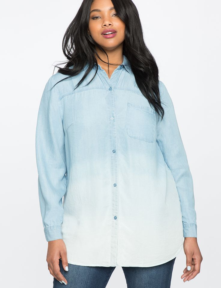 Color Blocked Chambray Oxford Shirt | Women's Plus Size Tops | ELOQUII