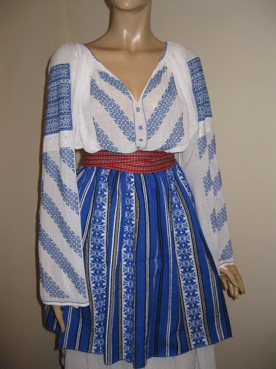 Stunning Romanian complete costume from South Romania / Gorj county . It contains 4 pieces : 1 . 40-50 years old hand embroidered blouse top . It is