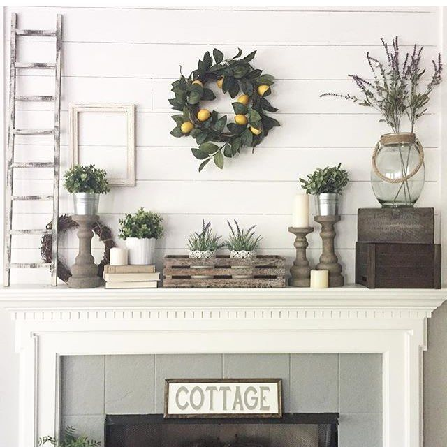 Love that lemon wreath!! Farmhouse decor, Fixer Upper Style, home decor, mantle accessories