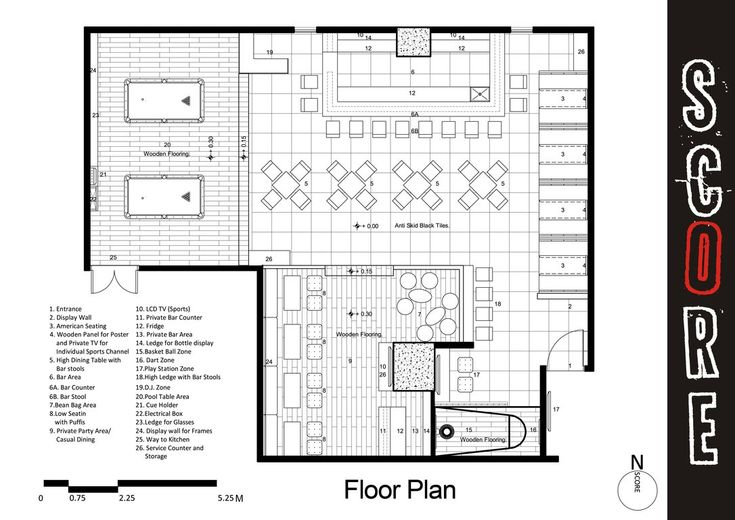 Sports bar and grill floor plans project bar design for Bar floor plan
