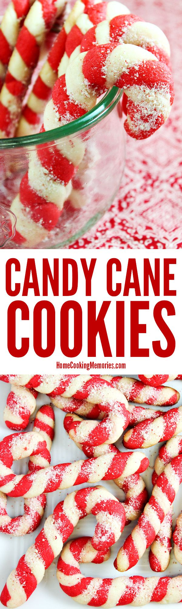 Christmas Candy Cane Cookies recipe! Made from an easy cookie dough recipe with plenty of festive peppermint flavor. The colorful dough is twisted to look like a candy cane. A favorite at holiday parties & cookie exchanges. via @HomeCookMemory
