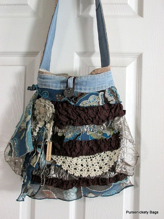 Pursesnickety Bags...Large handbag made with thick, soft beige and floral fabrics. Ruffles throughout the front body with vintage doilies, lace and denim and a
