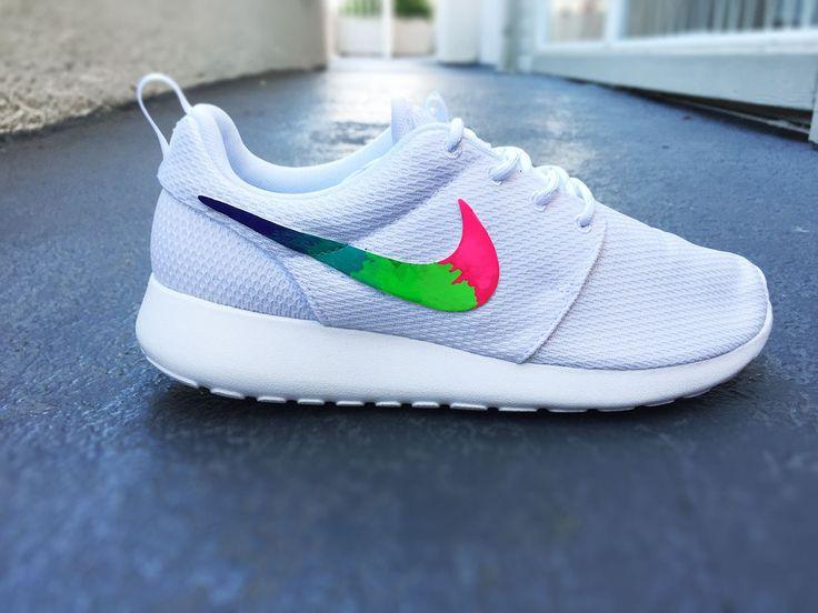 Custom Nike Roshe Run sneakers for women, All white, Rainbow gradient  design, Pink