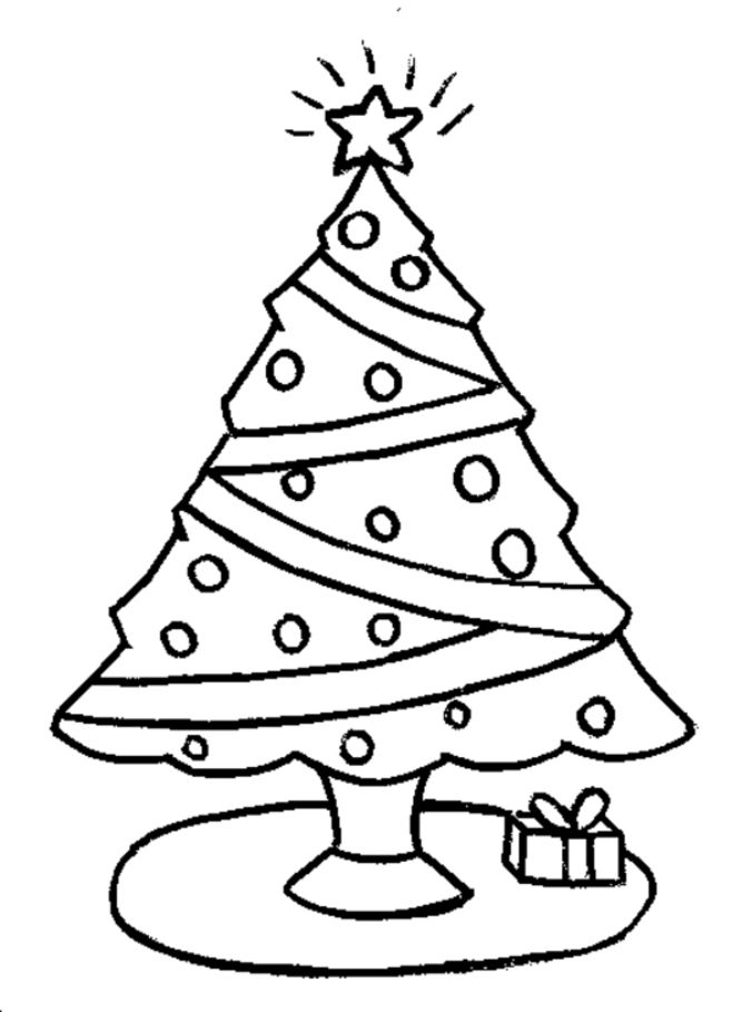 Christmas Tree That Garnished With Stars And Gift Box Coloring Page