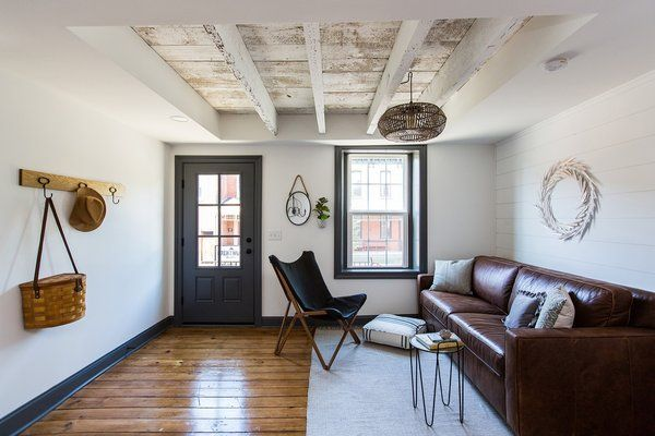 Photo 8 Of 28 In Before After A Dark 1880s Row Home Gets An Airy Home Minimalist Living Room House Interior Open concept row house