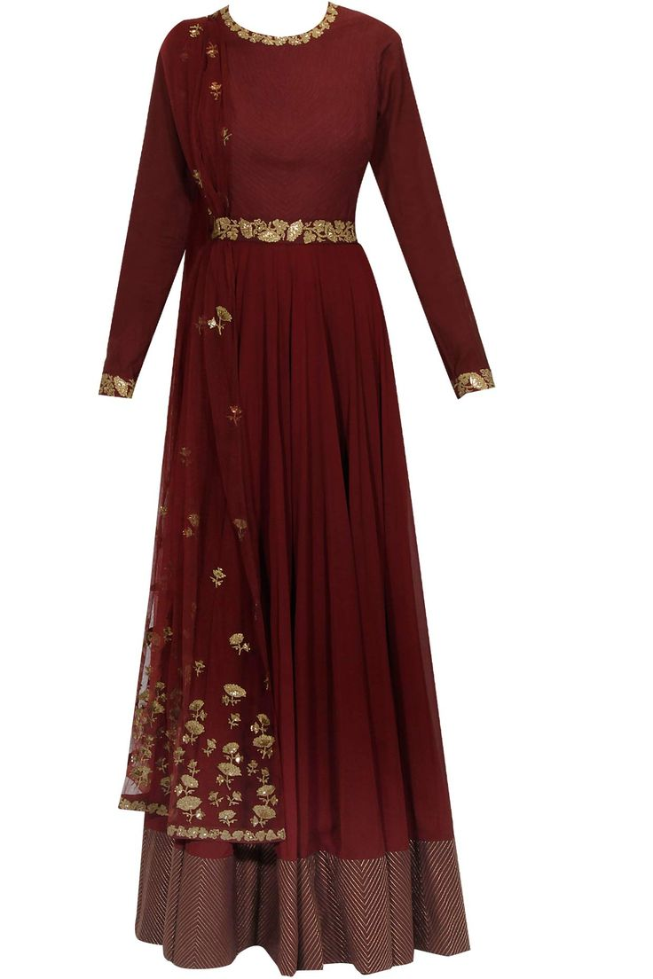 Wine floral embroidered anarkali set available only at Pernia's Pop Up Shop.