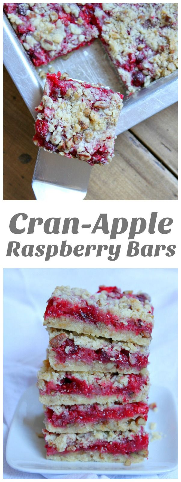 Cran-Apple Raspberry Bars recipe - from RecipeGirl.com.  These beautiful bars are filled with fresh cranberry, apple and raspberry with a buttery crumb crust and topping.