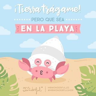 ¡Que llegue el teletransporte a mi vida y me deje en la mejor orilla! If the earth is going to swallow me up, may it be on the beach. Someone teleport me away to the sunniest shore! #mrwonderfulshop #summer #beach #quotes