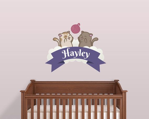 Custom Name Cats Nursery Decal by LullaberryDecals on Etsy