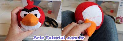 Como fazer o pássaro vermelho do Angry Birds de pelúcia - Passo a Passo - Arte Tutorial