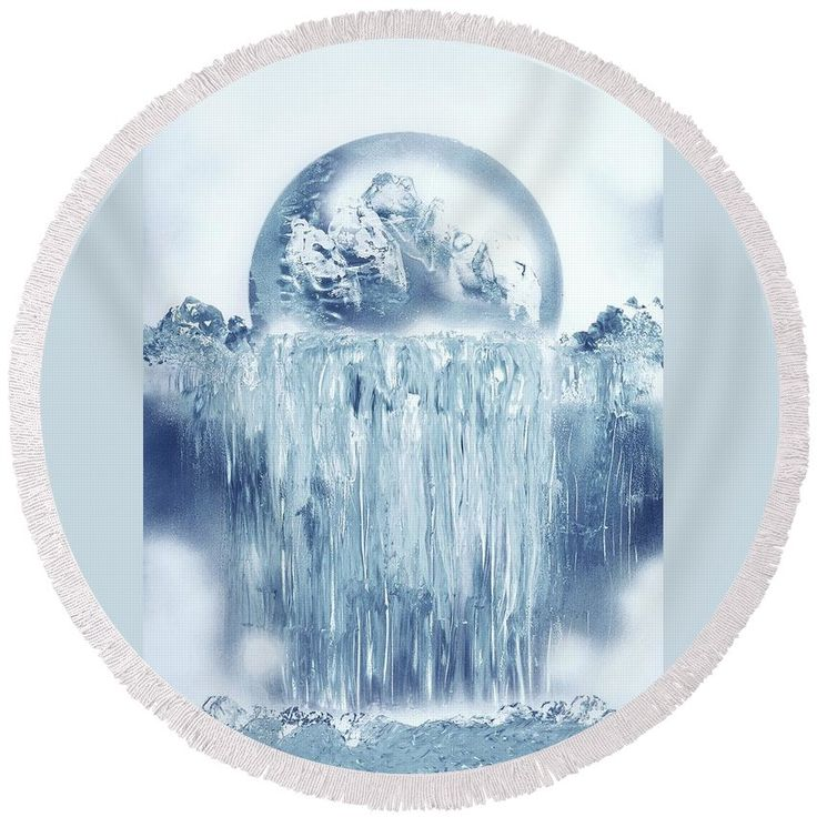 Ice Waterfall Round Beach Towel Printed with Fine Art spray painting image Ice Waterfall by Nandor Molnar (When you visit the Shop, change the image size as you wish)
