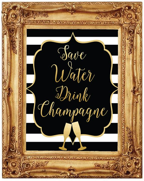 Save water drink champagne bachelorette party  bridal shower  vegas