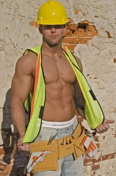 Hot Construction Worker Muscle Jock With 6 Pack Abs In Jeans And Abercrombie Underwear