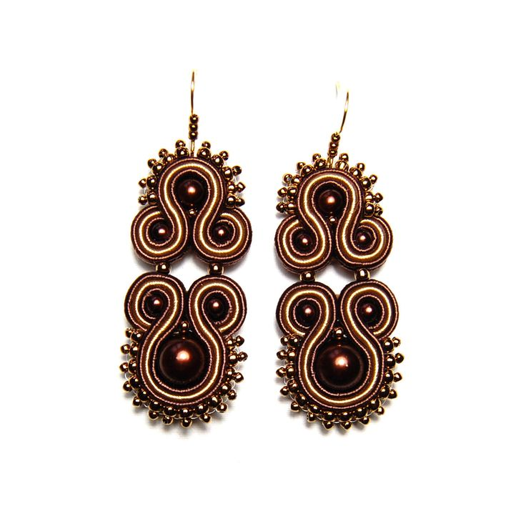 Soutache earrings brown beige golden handmade jewelry shop gift for sale buy orecchini pendientes oorbellen Ohrringe brincos örhängen by SoutacheFlowOn on Etsy