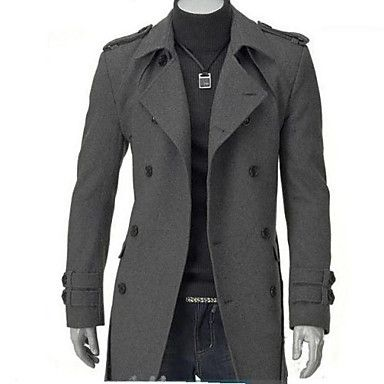 Men's+Long+Parka+Coat,Cotton+Solid+Long+Sleeve+–+USD+$+19.59
