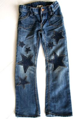 starry jeans. cute way to patch jeans. cut a shape out of an old pair, sew edges and hot glue over hole.