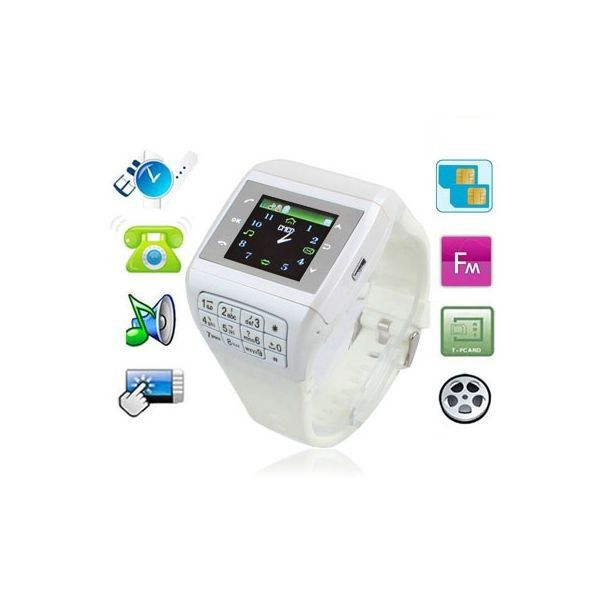 Montre telephone Dual SIM lecteur mp3 Micro SD USB Blanc