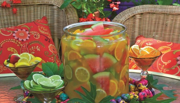 Guadalajara Punch   The Splendid Tableserved in large, wide-mouthed clay bowls, called cazuelas. Citrus wedges are eaten or squeezed into the drink. Partakers pop chunks of watermelon and fresh pineapple into their mouths and sip the tequila-laced libation