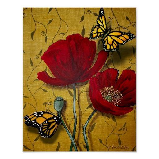 Red Poppies with Yellow Butterflies Poster by Cherie Roe Dirksen #art #butterflyprint #poppyprint