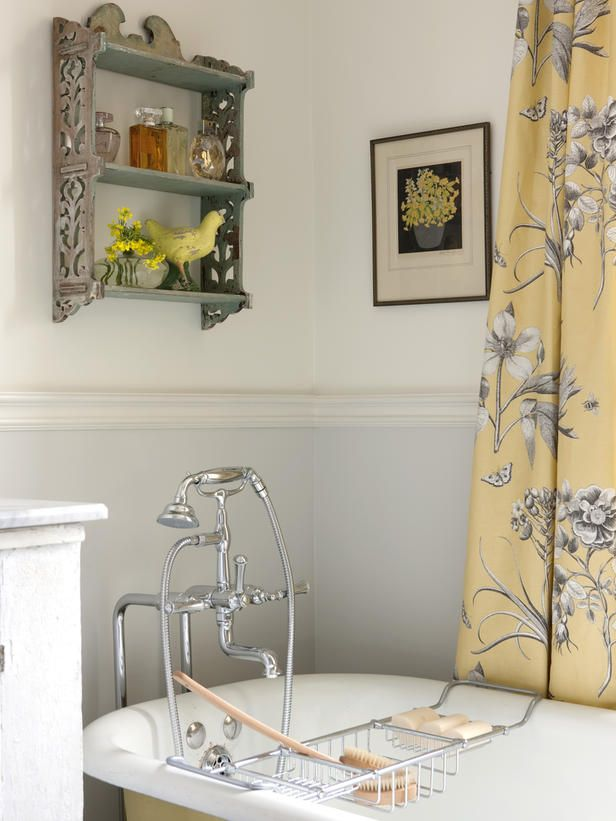 Couldn't be more in love with this yellow and gray fabric - so unexpected to have floor length curtains in the bath! And the silver finishes are so bright and look amazing with the marble countertops. From Sarah Richardson's Farmhouse.