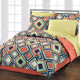 @Overstock.com.com - Diamond 4-piece Comforter Set with Bedskirt - Bring a chic, downtown hotel vibe to your room with this quirky four-piece comforter set. Exploding with beautiful bright accent colors and featuring soft cotton fabric, it has a geometric pattern that will help bring eclectic energy into a room.  http://www.overstock.com/Bedding-Bath/Diamond-4-piece-Comforter-Set-with-Bedskirt/6761951/product.html?CID=214117 $53.99