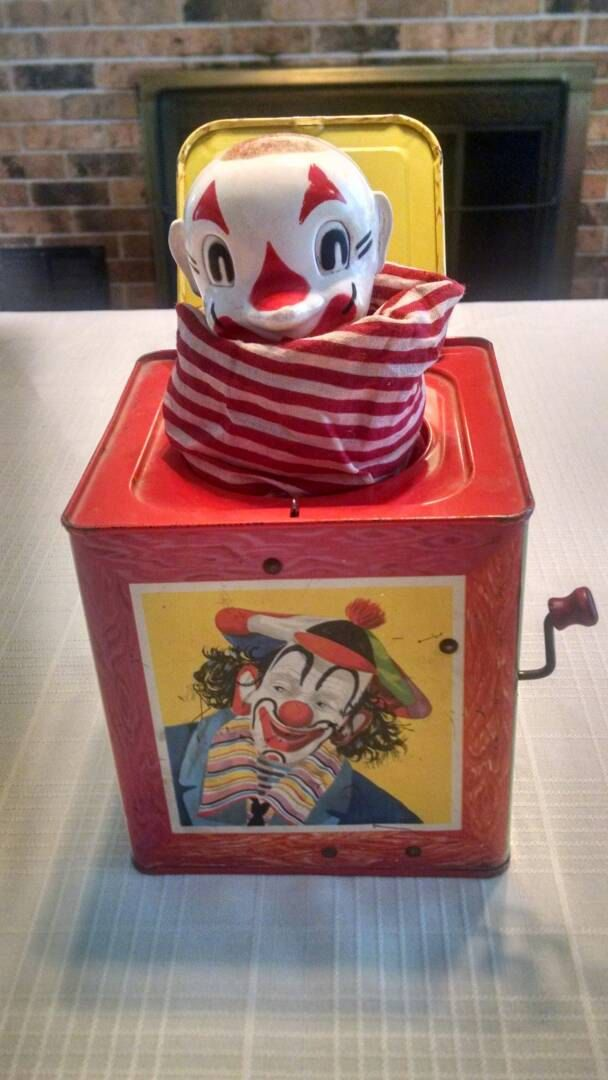 Toys From 1953 : Vintage mattel musical clown jack in the box rare