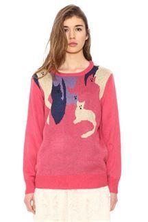 Jersey de punto rosa con gatos de colores