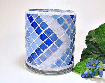 Tonos de sostenedor de vela votiva Vidrieras mosaico de azul
