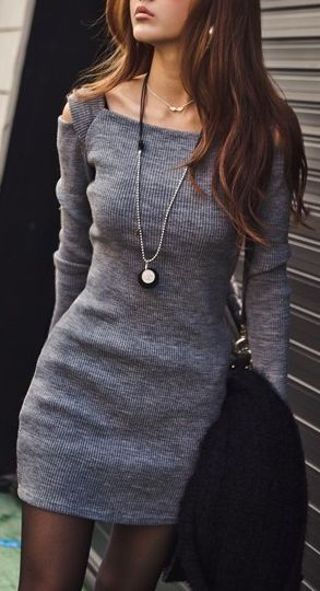 fall outfits womens fashion clothes style apparel clothing closet ideas. gray sweater dress great pin!