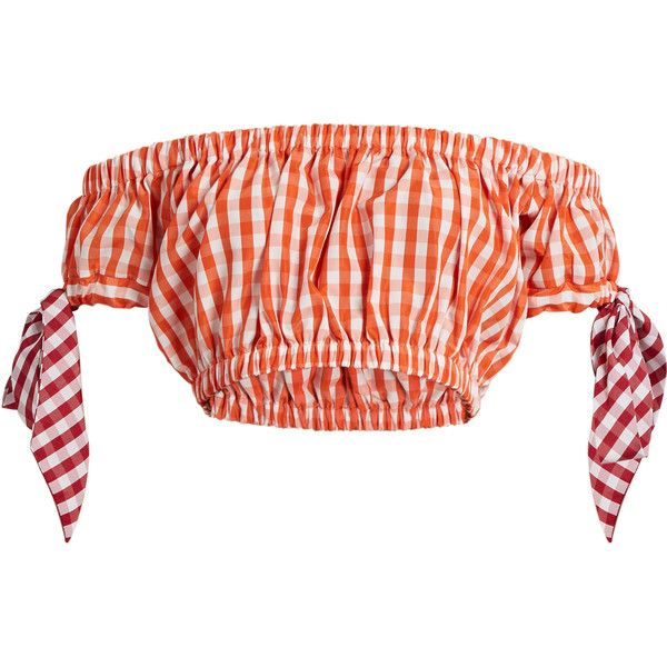 House Of Holland Off-the-shoudler gingham bandeau top ($112) ❤ liked on Polyvore featuring tops, orange white, orange crop top, tie bandeau bikini top, white bandeau top, white bandeau bikini top and cut-out crop tops