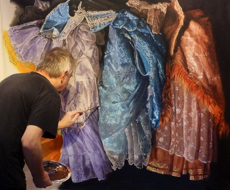 A work in progress.  It shows some of the fabulous costumes from Rodgers & Hammerstein's Cinderella which is currently touring North America. the designer is the 6 time Tony Award winner William Ivey Long and I'm very grateful for his permission to paint these :-)