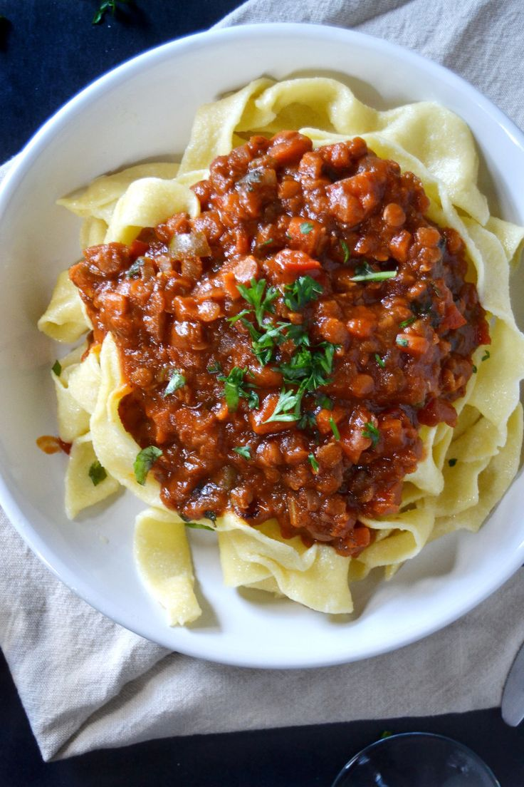 vegetable ragu on tagliatelle